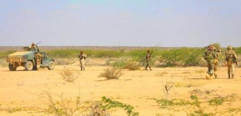 Djiboutilaiset AMISOM-joukot Beledweynessä.