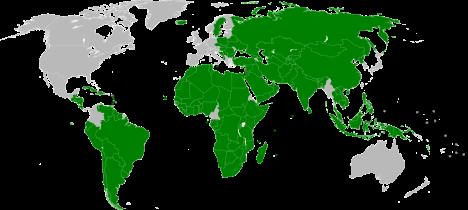 Maat, jotka ovat tunnustaneet Palestiinan valtion. Kuva: Night w [CC-BY-SA-3.0], via Wikimedia Commons.