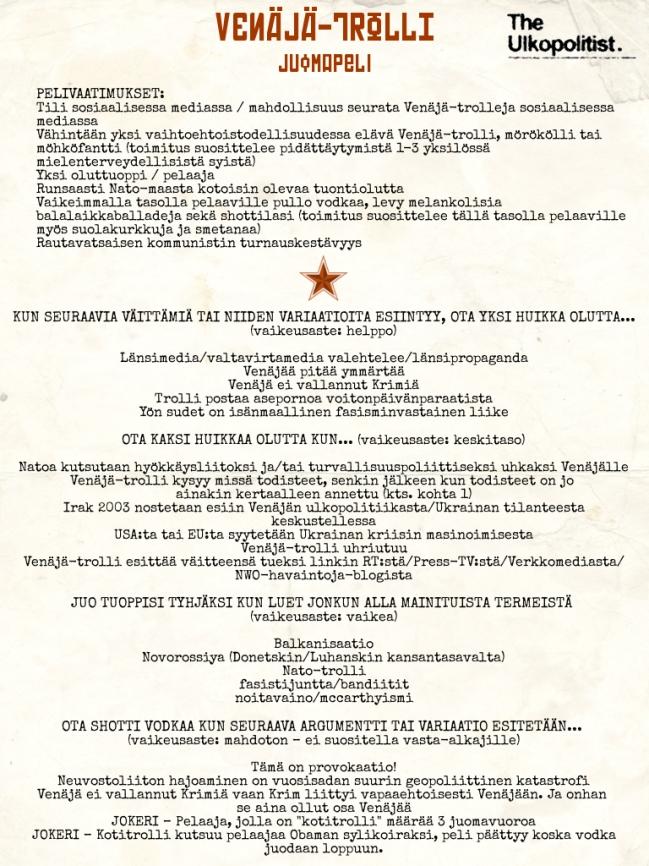 Venäjä-trolli juomapeli