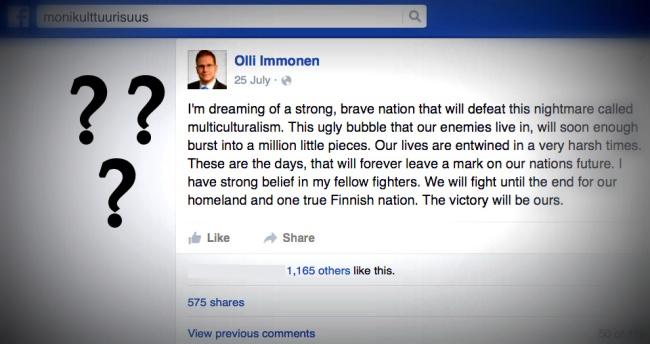 Kansanedustaja Olli Immosen Facebook-sivuillaan 25.7.2015 julkaisema päivitys sai paljon kritiikkiä, mutta myös kiitosta.
