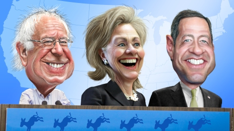 Demokraattien presidenttiehdokkaat karikatyristin kuvaamina: Sanders, Clinton ja O'Malley. Kuva https://www.flickr.com/photos/donkeyhotey/with/22391436666/