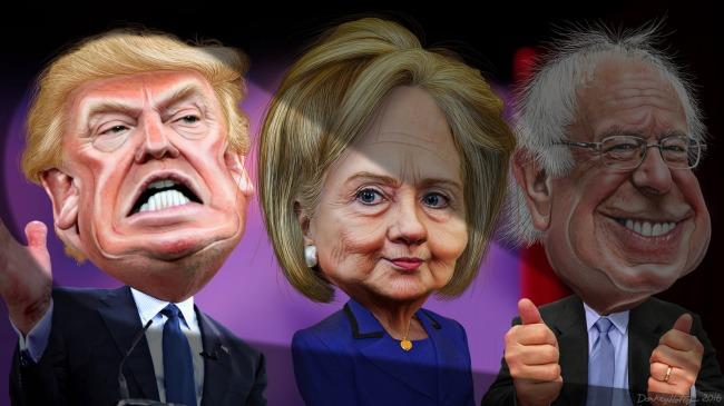 Donald Trump, Hillary Clinton ja Bernie Sanders ovat kaikki ilmaisseet kriittisen suhtautumisensa TPP-vapaakauppasopimukseen Kuva: DonkeyHotey/Flickr