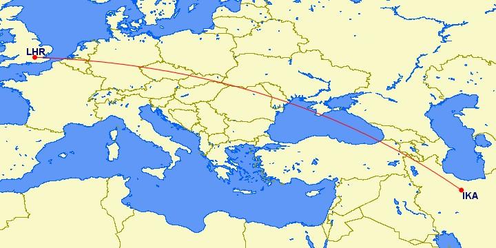 Lentorata Iranista Keski-Eurooppaan. Kuva: Great Circle Mapper.